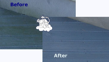 Composite decking - before and after power washing
