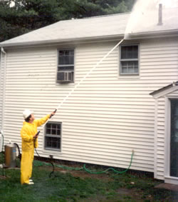 Power washing vinyl siding.